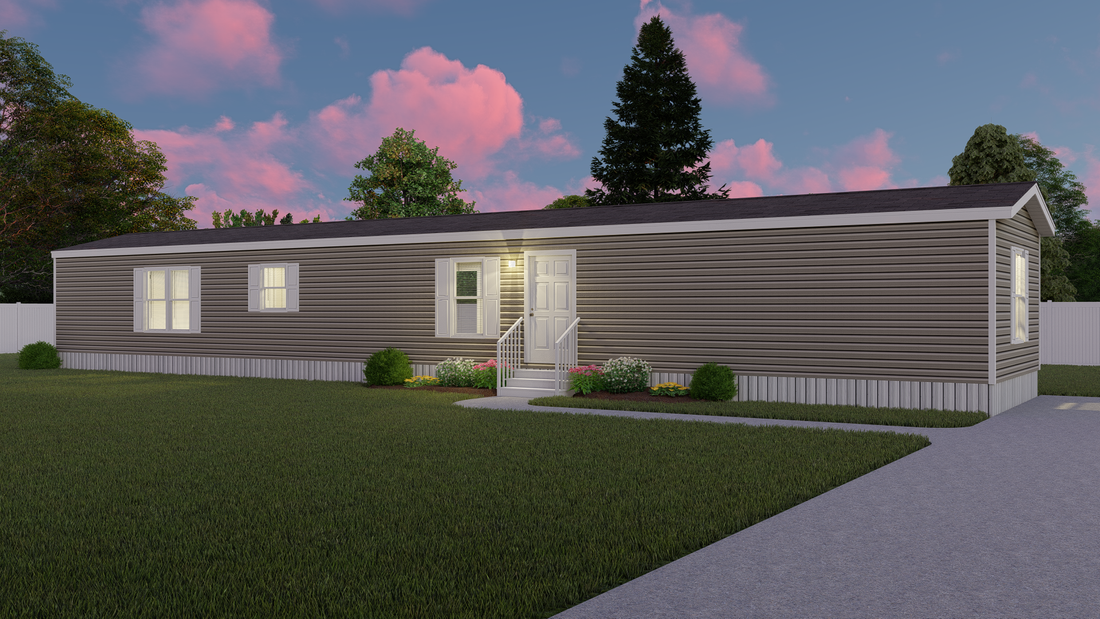 The ANNIVERSARY 16763A Exterior. This Manufactured Mobile Home features 3 bedrooms and 2 baths.