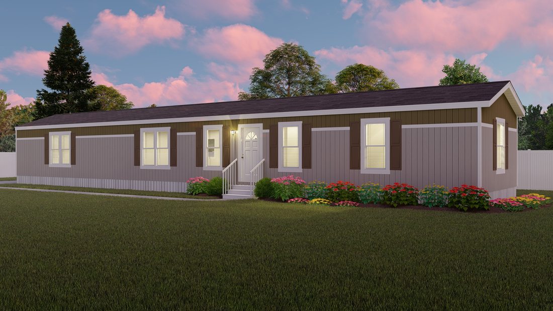 The DECISION MAKER 16803W Exterior. This Manufactured Mobile Home features 3 bedrooms and 2 baths.
