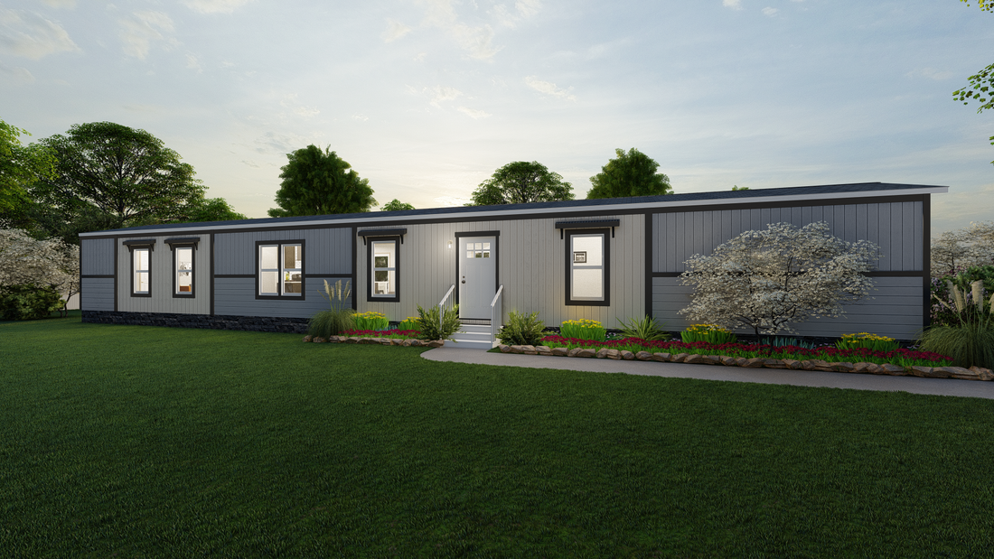 The INSPIRATION 16803A Exterior. This Manufactured Mobile Home features 3 bedrooms and 2 baths.