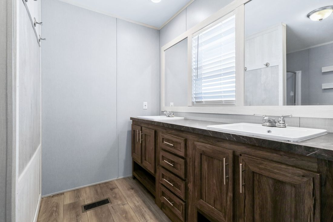 The INSPIRATION 16763K Master Bathroom. This Manufactured Mobile Home features 3 bedrooms and 2 baths.