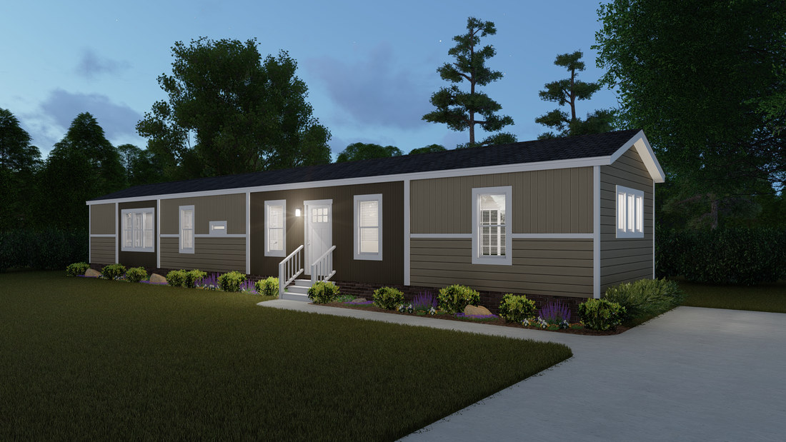 The INSPIRATION 16763K Exterior. This Manufactured Mobile Home features 3 bedrooms and 2 baths.