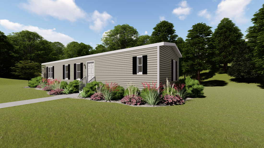 The DECISION MAKER 16603B Exterior. This Manufactured Mobile Home features 3 bedrooms and 2 baths.